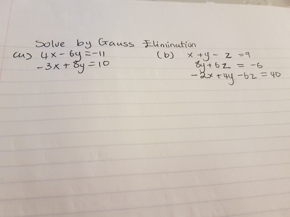 Solve by Gauss Linination Advanced Math Archive