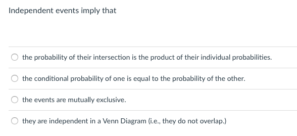 Solved Independent Events Imply That The Probability Of T