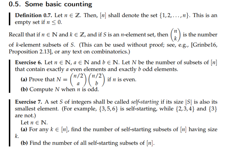 Some Basic Counting Definition 0.7. Let N E Z. Then, [