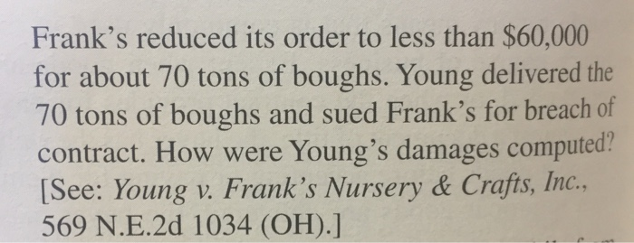 Show Transcribed Image Text William Young Had Cut Evergreen Boughs And Sold Them Exclusively To Franks Nursery Crafts Inc For 10 Years