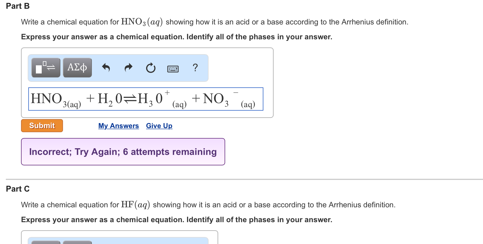solved: write a chemical equation for hno3(aq) showing how