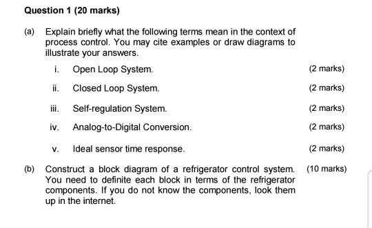 Solved this is process control and instrument question question 1 20 marks explain briefly what the following terms mean in the context publicscrutiny Gallery
