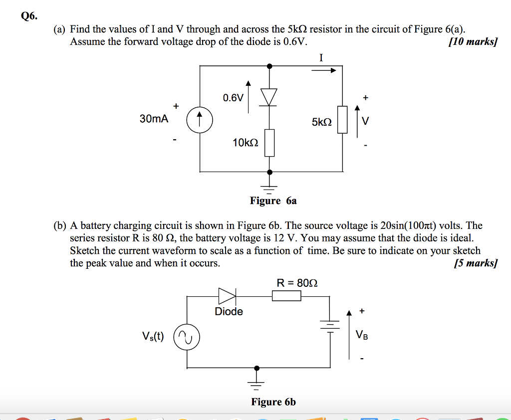 Solved Q6 A Find The Values Of I And V Through Acr Circuit Diagram 6v Battery Charger Across