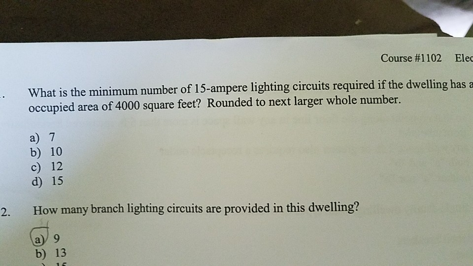 Course #1102 Ele s the minimum number of 15-&ere lighting circuits required if & What Is The Minimum Number Of 15 Ampere Lighting C... | Chegg.com