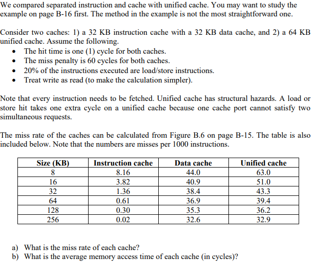 We Compared Separated Instruction And Cache With U Chegg