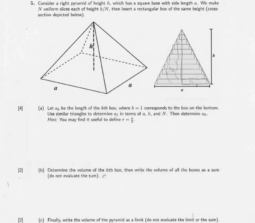 Solved Consider A Right Pyramid Of Height H Which Has A Chegg Com