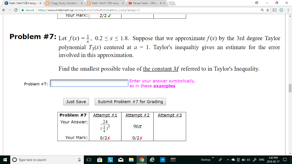 Solved: Math 1AA3/1 ZB3 Assign 、G Chegg Study | Guided S