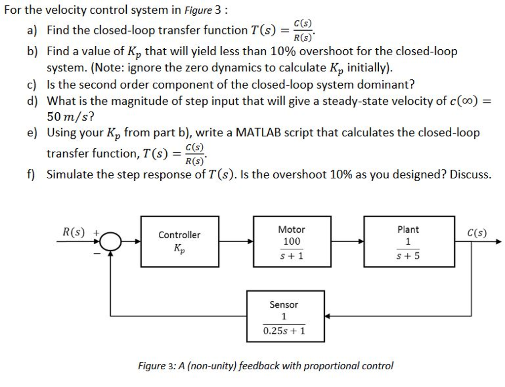 Solved: For The Velocity Control System In Figure 3: Find ...