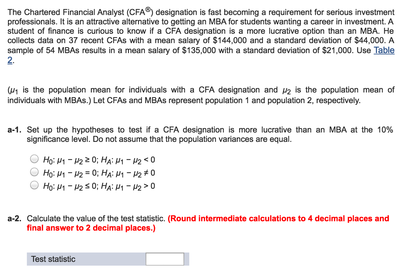 finance test questions