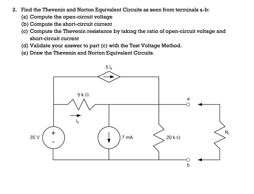 Solved 2 Find The Thevenin And Norton Equivalent Circuit Esting For Resistance In A Circuits As Seen From Terminals B