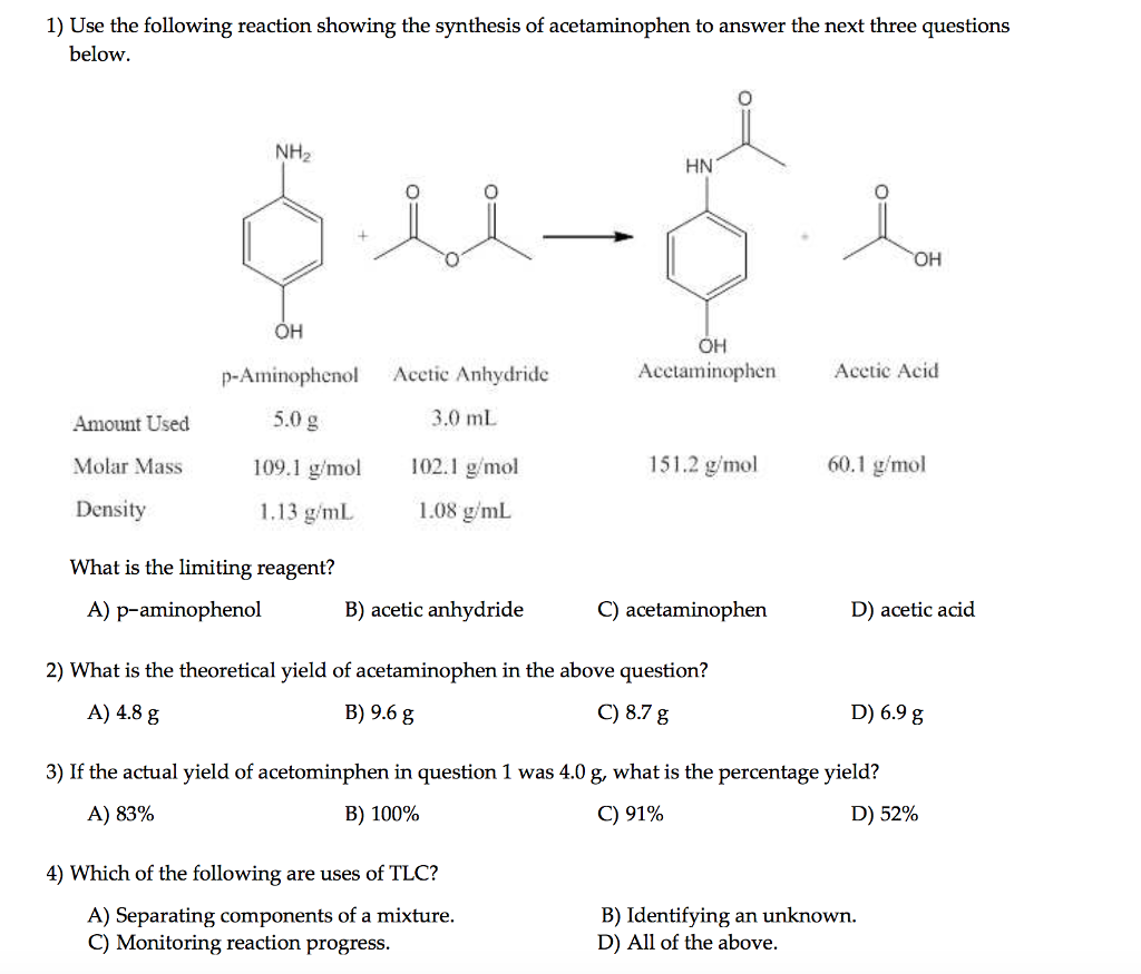 synthesis of acetaminophen reaction