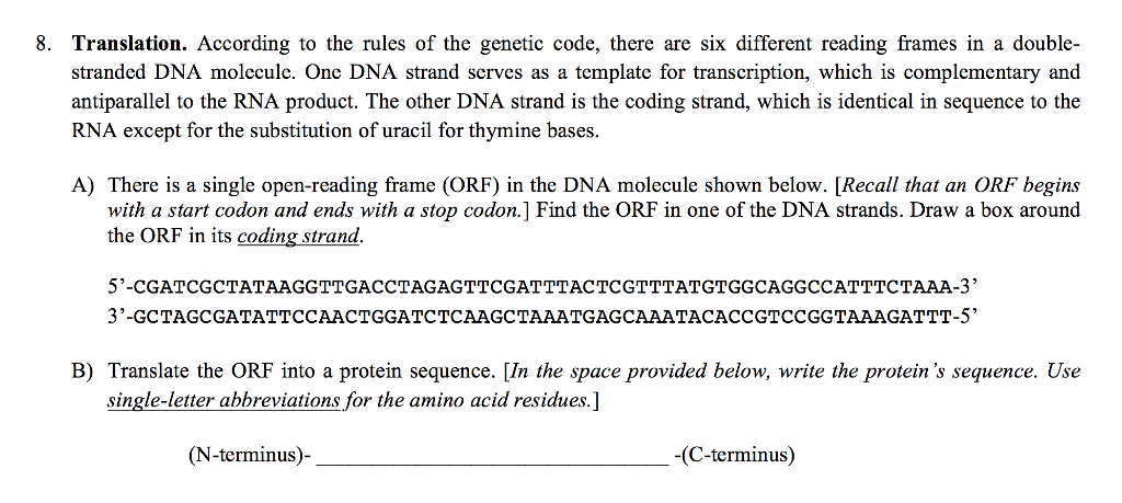 Solved: According To The Rules Of The Genetic Code, There ...