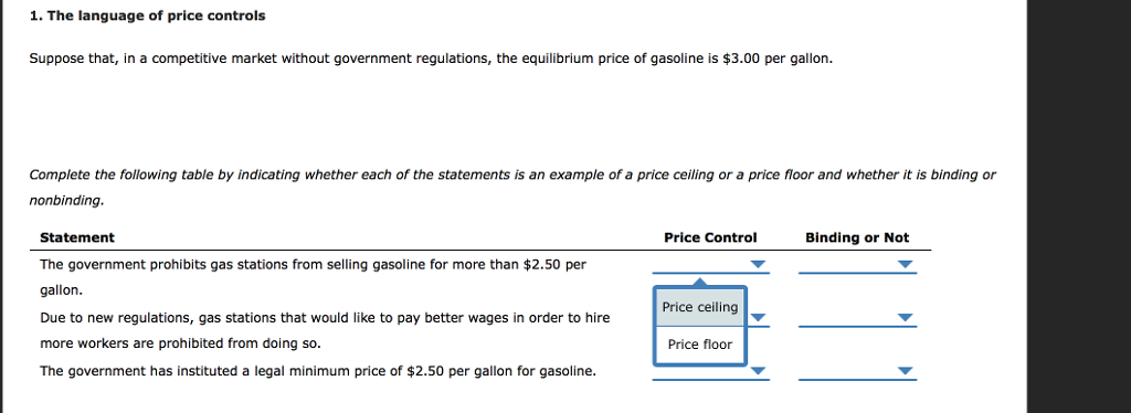 Solved 1 The Language Of Price Controls Suppose That In