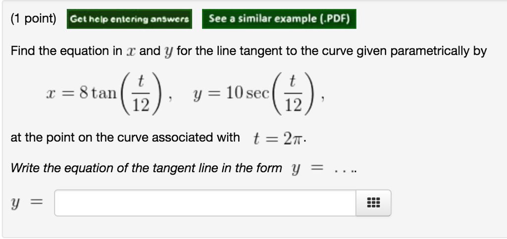 Solved: (1 Point) Get Help Entering Answers See A Similar