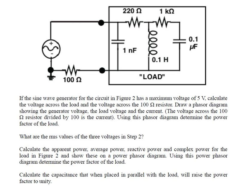 Solved if the sine wave generator for the circuit in figu 2200 1 km 01 1 nf 01 h load 100 n if the sine wave generator ccuart Choice Image