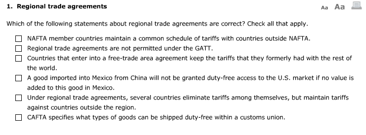Solved 1 Regional Trade Agreements Aa Aa Which Of The Fo