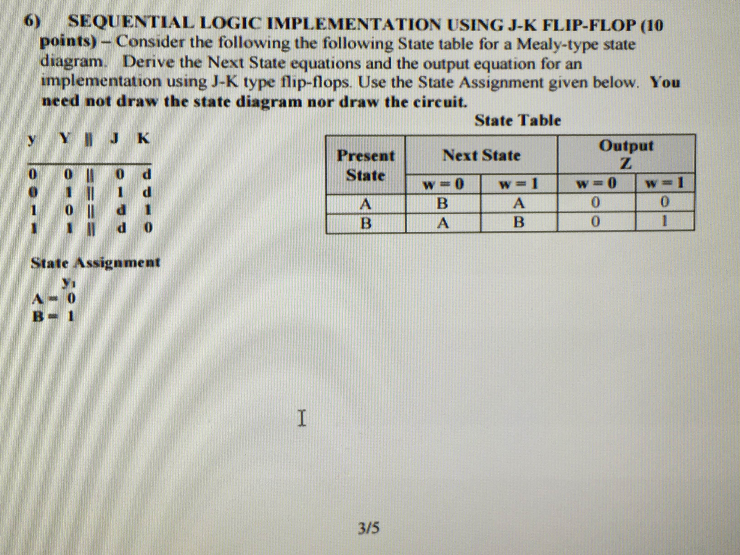 Sequence logic implementation using JK Flip Flop: