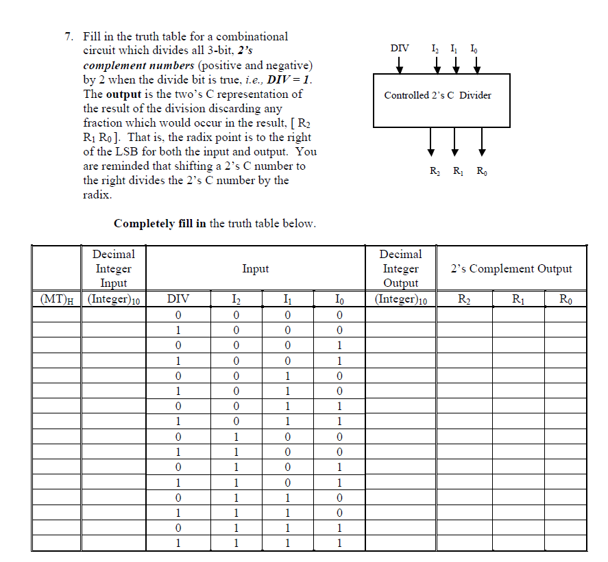 solved fill in the truth table for a combinational circui rh chegg com