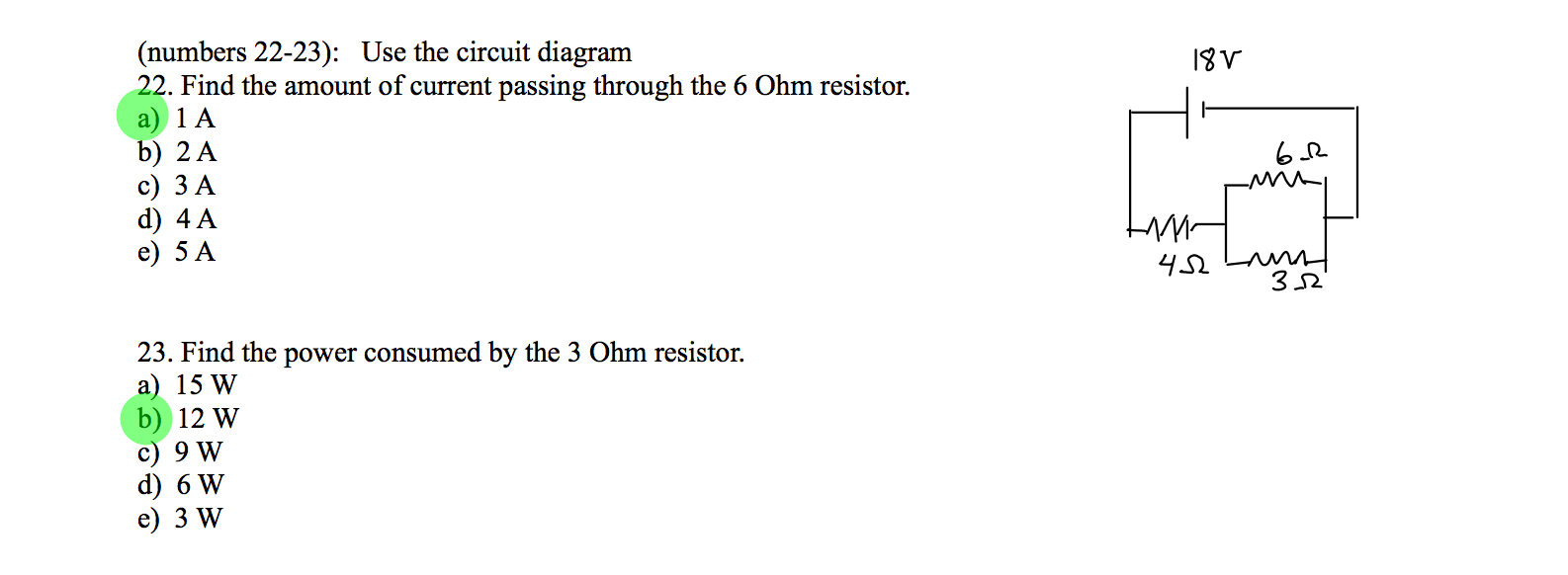 Solved Use The Circuit Diagram 22 Find Amount Of Cur Line 6 Question Current Passing Through Ohm Resistor A 1