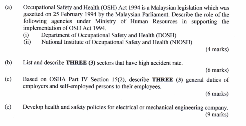 Occupational Safety And Health Osh Act 1994 Is A Chegg Com