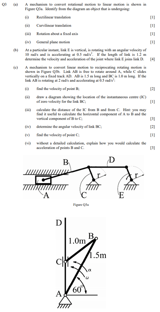 Solved Q3 A Mechanism To Convert Rotational Motion To Lin