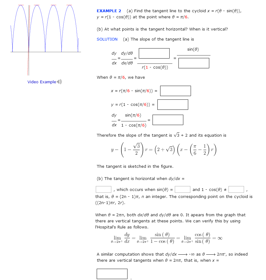 Find The Tangent Line To The Cycloid X = R(theta