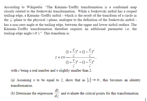Solved according to wikipedia the krmn trefftz transf according to wikipedia the krmn trefftz transformation is a conformal map closely related to malvernweather Choice Image