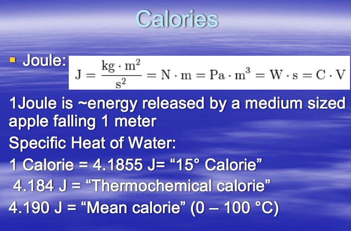 Calories Joule Kg  E2 80 A2m J Kg M