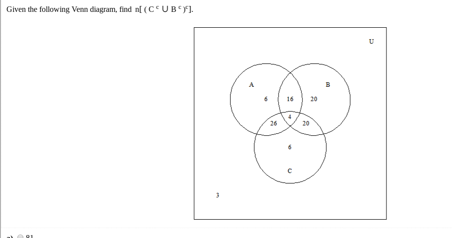 Solved Given The Following Venn Diagram Find N Cc U Bc