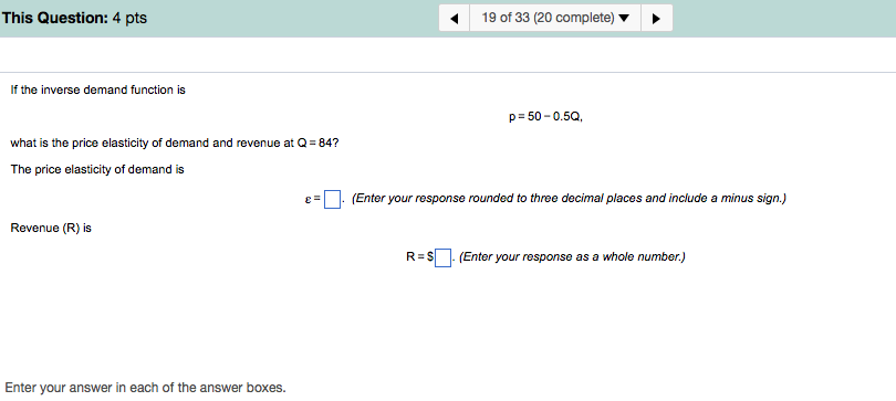 Solved If The Inverse Demand Function Is P 50 0 5q W Chegg Com