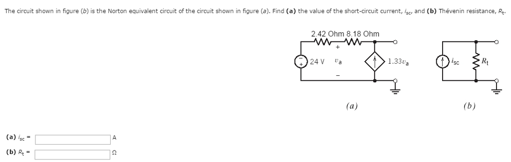 solved the circuit shown in figure b is the norton equi rh chegg com