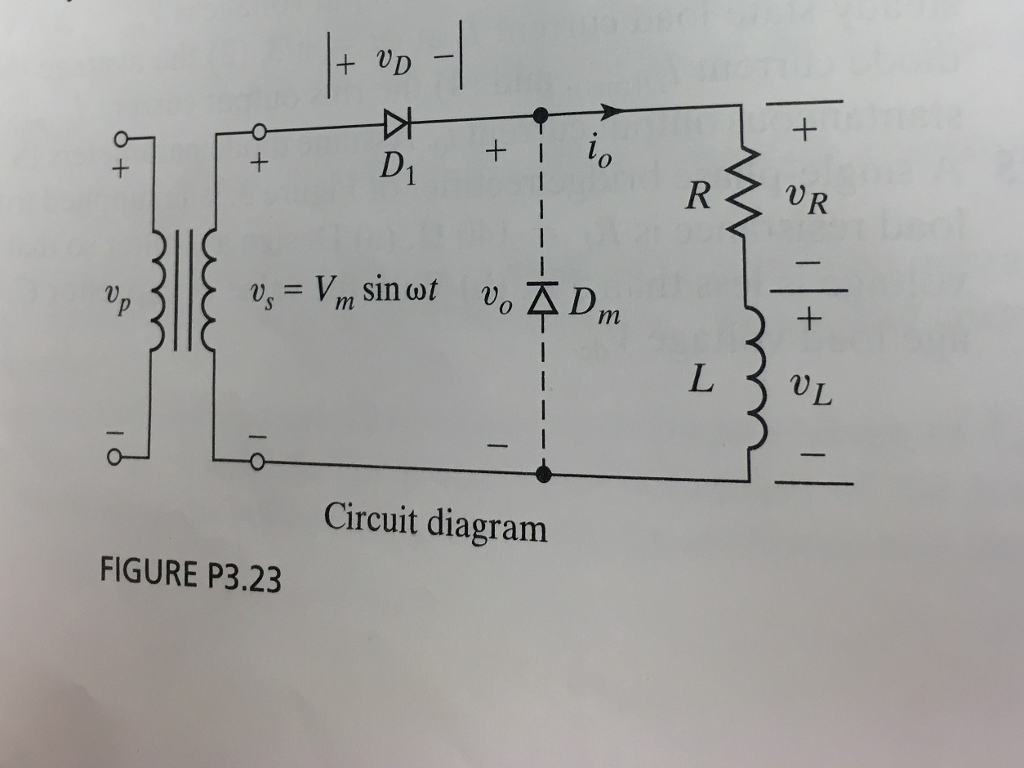 Solved The Single Phase Half Wave Rectifier Has A Freewhe Halfwave Circuit Diagram Figure P323