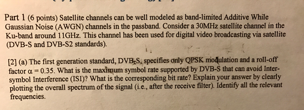 Solved Whata The Maximum Symbol Rate Of A Passband Chann