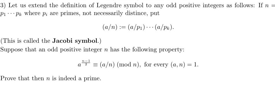 Solved 3 Let Us Extend The Definition Of Legendre Symbol