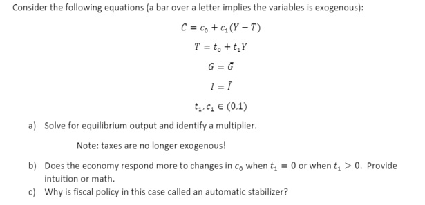 Solved: Consider The Following Equations (a Bar Over A Let