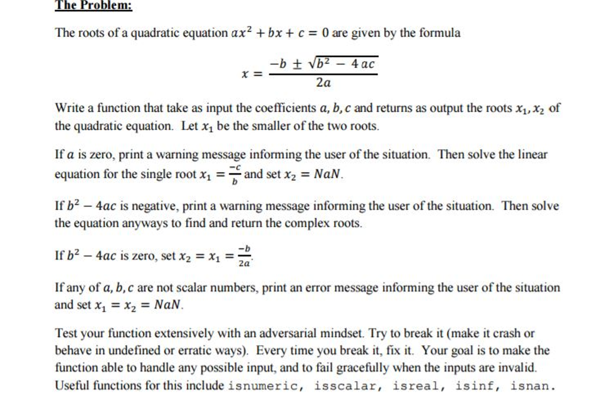 Find root of quadratic equation in matlab