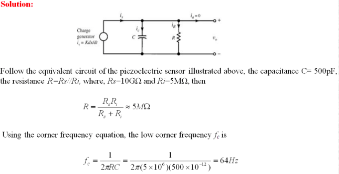 Solved: A Piezoelectric Sensor Has C=500pF  The Sensor Lea