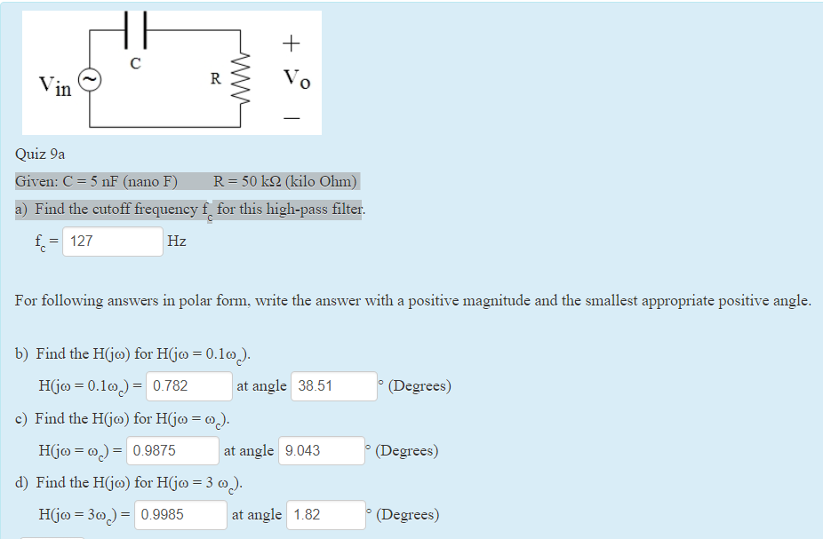 Solved: 0 Quiz 9a Given: C = 5 NF (na ) R=50k? (kilo Ohm