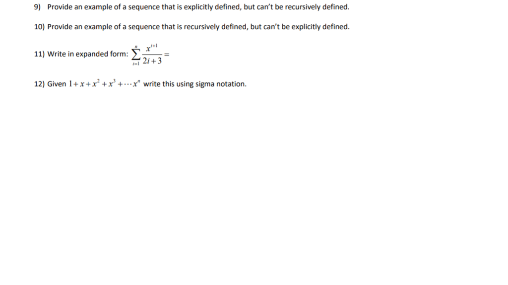 Solved 9 Provide An Example Of A Sequence That Is Explic