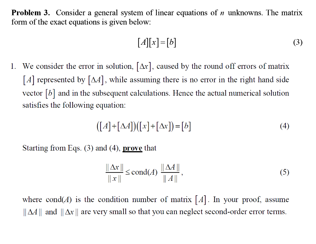 solved: problem 3. consider a general system of linear equ