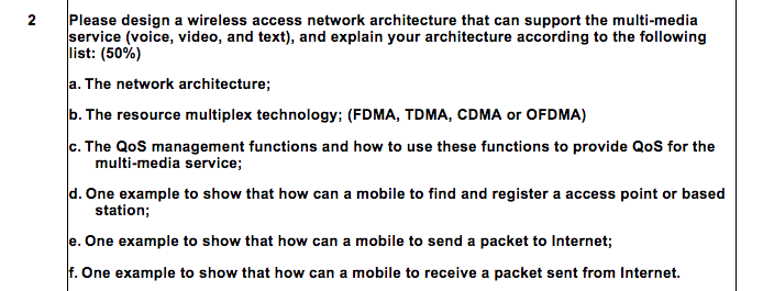 Solved: 2 Please Design A Wireless Access Network Architec