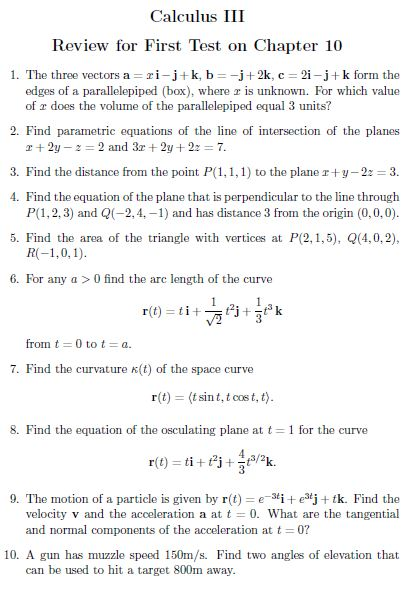 Solved: Calculus III Review For First Test On Chapter 10 1
