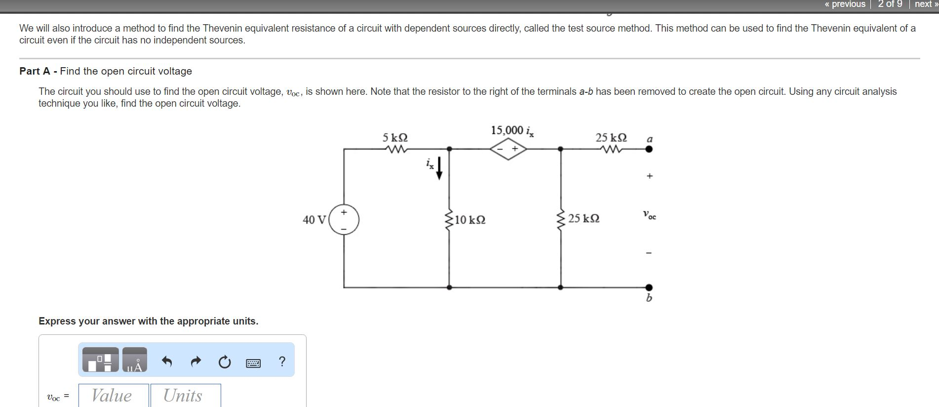 Solved The Circuit You Should Use To Find Open Circui Equivalent Resistance Rt Of Given Cheggcom Previous 2 9 Next We Will Also Introduce A Method