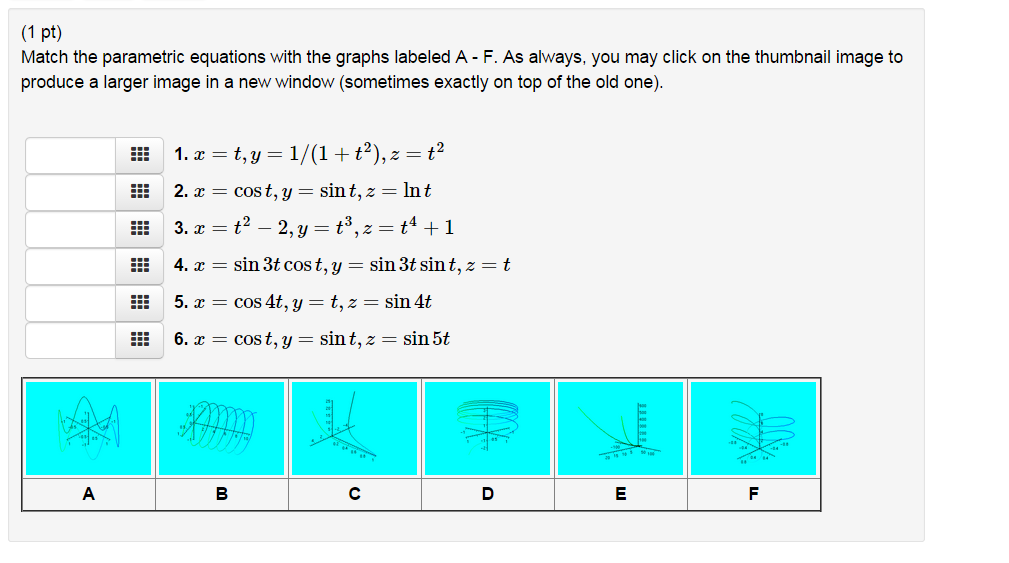 c5bd6f44d58 Solved  Match The Parametric Equations With The Graphs Lab ...