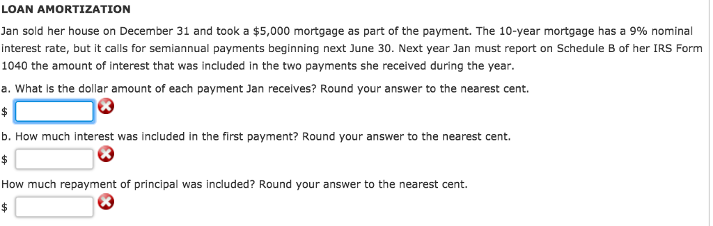 loan amortization jan sold her house on december 31 and took a 5000 mortgage as part