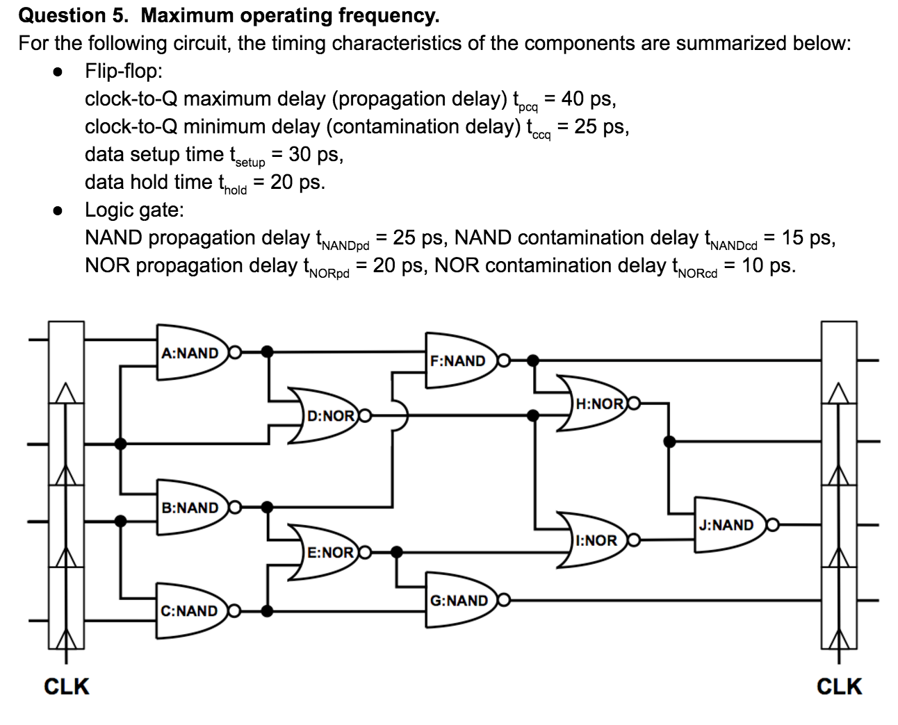 Question 5. Maximum operating frequency For the following circuit, the timing characteristics of the components are summarized below: . Flip-flop pcq clock-to-Q minimum delay (contamination delay) t-25 ps, data setup time t- 30 ps, data hold time thold 20 ps ccq setup » Logic gate: NAND propagation delay NANDp NOR propagation delay thoRod NAND propagation delay tNANDpd 25 ps, N ,-20 ps. NOR contamination delay tNORd-10 ps ,-25 ps. NAND contamination delay tNANDod-15 ps. NORp A:NAND F:NAND H:NOR D:NOR B:NAND J:NAND I:NOR E: NOR G:NAND C:NAND CLK CLK