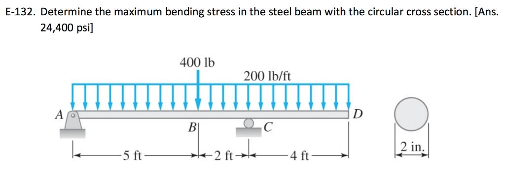 Solved: E-132  Determin E The Maximum Bending Stress In Th