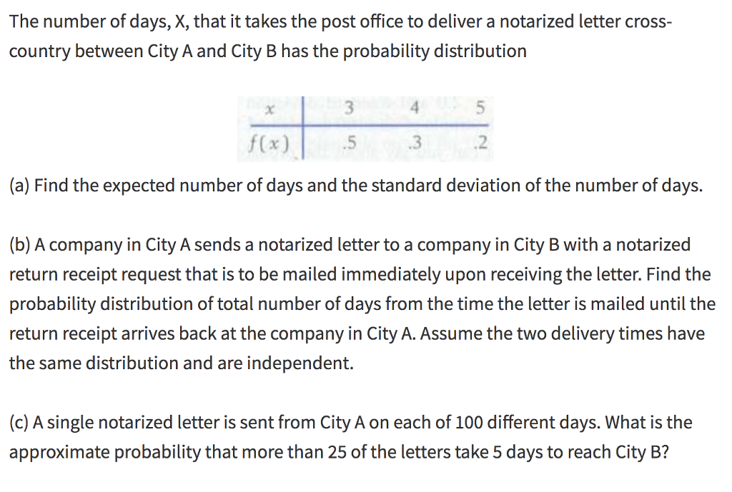 Solved: The Number Of Days, X, That It Takes The Post Offi