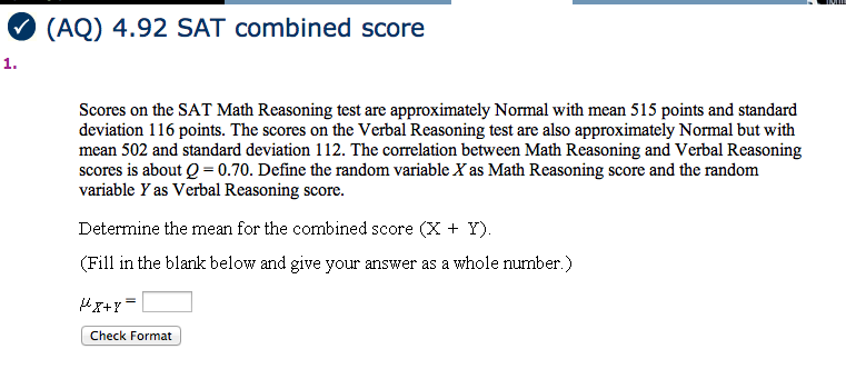 Solved: Scores On The SAT Math Reasoning Test Arc Approxim