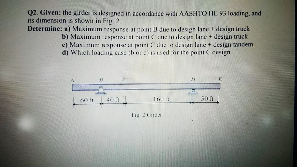 Q2  Given: The Girder Is Designed In Accordance Wi